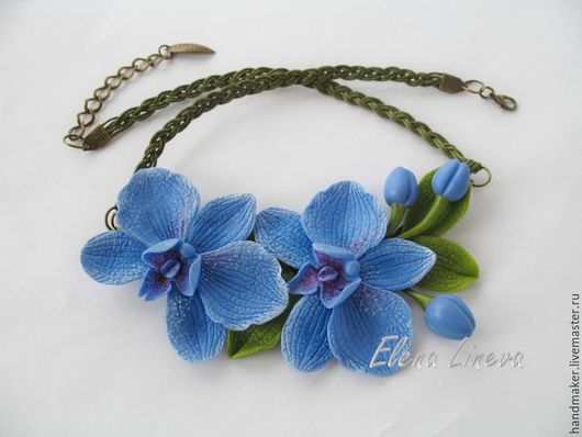 Колье, бусы ручной работы. Ярмарка Мастеров - ручная работа. Купить Колье с орхидеями, холодный фарфор. Handmade. Синий