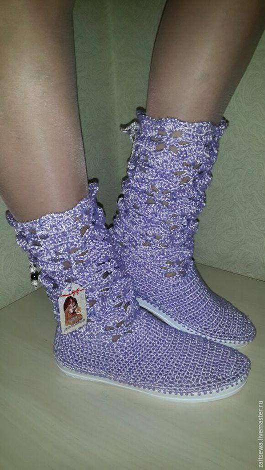Обувь ручной работы. Ярмарка Мастеров - ручная работа. Купить Сиреневые сапожки. Handmade. Сиреневый, обувь для улицы