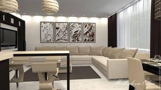 Дизайн-проект трехкомнатной квартиры. Кухня-гостиная.