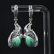 Украшения handmade. Livemaster - original item Classic Adaya earrings with malachite in 925 sterling silver HH0016-4. Handmade.