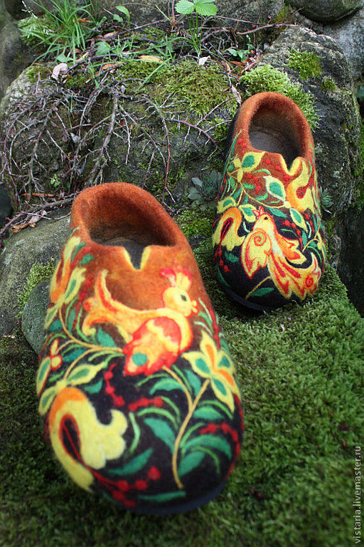 Обувь ручной работы. Ярмарка Мастеров - ручная работа. Купить Тапочки «Райский сад» русский стиль. Handmade. Валяная обувь