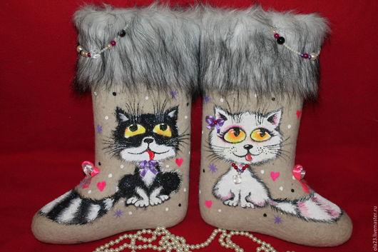 Обувь ручной работы. Ярмарка Мастеров - ручная работа. Купить Мурлыки. Handmade. Белый, котики, животные, авторские валенки, шуба