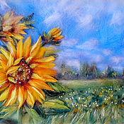 Картины и панно handmade. Livemaster - original item Picture of wool Sunflowers in the field. Handmade.