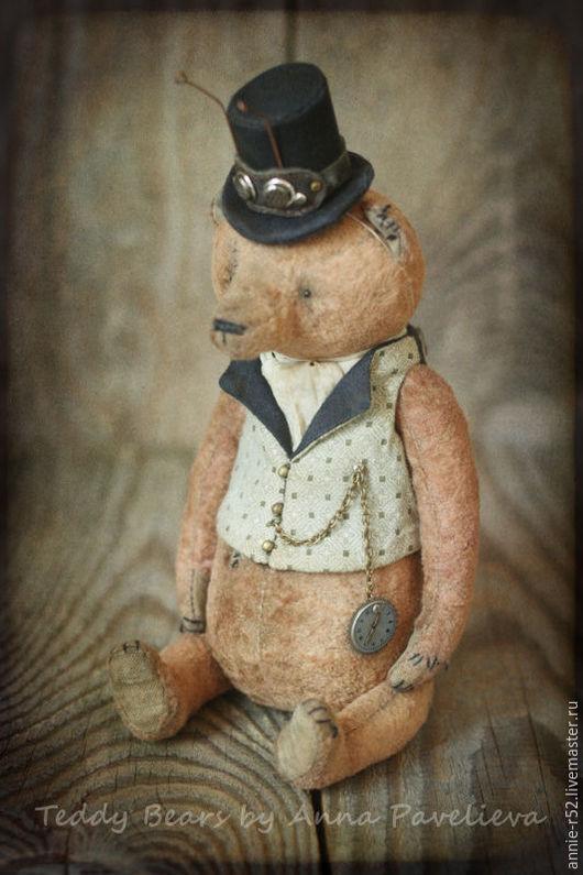 Мишки Тедди ручной работы. Ярмарка Мастеров - ручная работа. Купить Комарик. Handmade. Бежевый, цилиндр, стеклянные глазки