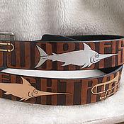Аксессуары handmade. Livemaster - original item Swordfish-TROMBONES leather belt. Handmade.