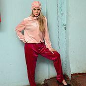 Одежда ручной работы. Ярмарка Мастеров - ручная работа Бархатный костюм розовый+малиновый. Handmade.