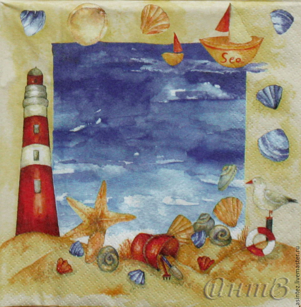 10pc napkins decoupage old lighthouse in the children's sandbox, Napkins for decoupage, Moscow,  Фото №1
