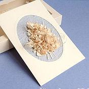 Открытки ручной работы. Ярмарка Мастеров - ручная работа Букет цвета чайной розы. Авторская открытка в коробочке. Handmade.