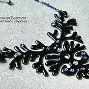 Украшения handmade. Livemaster - original item Glass necklace Midnight glass fusing. Handmade.