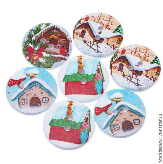 Другие виды рукоделия ручной работы. Ярмарка Мастеров - ручная работа. Купить Пуговицы деревянные новогодние (3). Handmade.