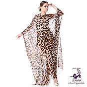 """Одежда ручной работы. Ярмарка Мастеров - ручная работа Пончо-платье-накидка """"Струящийся леопард"""" из шелковистого шифона. Handmade."""