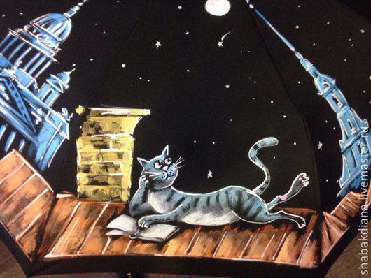 Зонты ручной работы. Ярмарка Мастеров - ручная работа. Купить Зонт с росписью- Питерский романтик. Handmade. Черный, коты и кошки