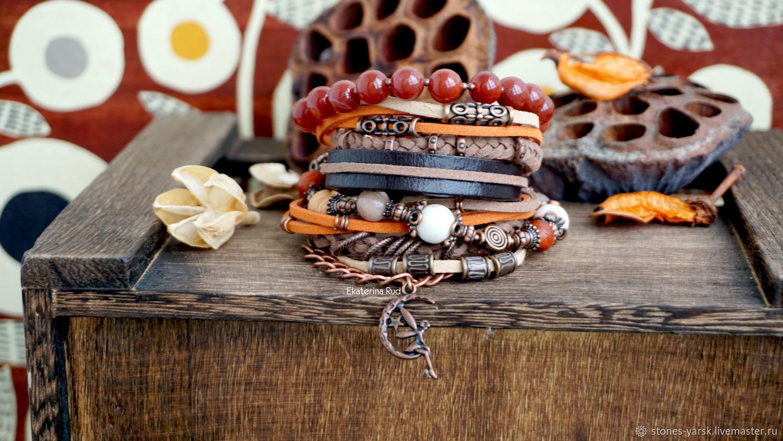 Boho-chic suede bracelet with carnelian ' Spicy', Bead bracelet, Moscow,  Фото №1