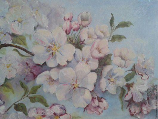 Картины цветов ручной работы. Ярмарка Мастеров - ручная работа. Купить яблоневый цвет. Handmade. Холст, цветы, на заказ, масло
