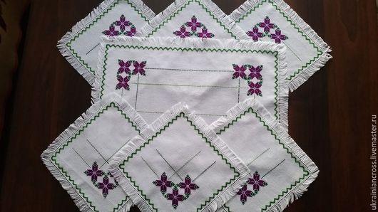 Текстиль, ковры ручной работы. Ярмарка Мастеров - ручная работа. Купить Комплект салфеток. Handmade. Вышивка крестом, вышивка ручная