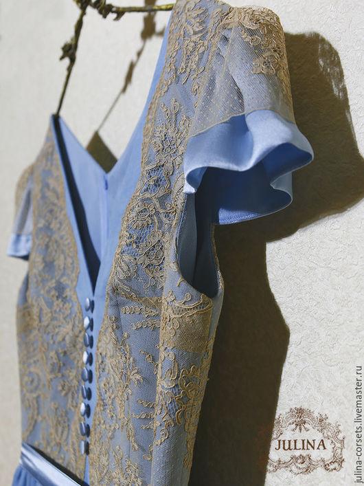 """Платья ручной работы. Ярмарка Мастеров - ручная работа. Купить Платье шелковое """"Тиффани"""" с антикварным кружевом. Handmade. Голубой, роскошь"""