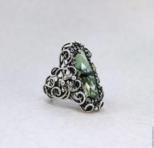 """Кольца ручной работы. Ярмарка Мастеров - ручная работа. Купить Кольцо серебро зеленый аметист """"FAIRY FOREST"""", серебряное кольцо. Handmade."""