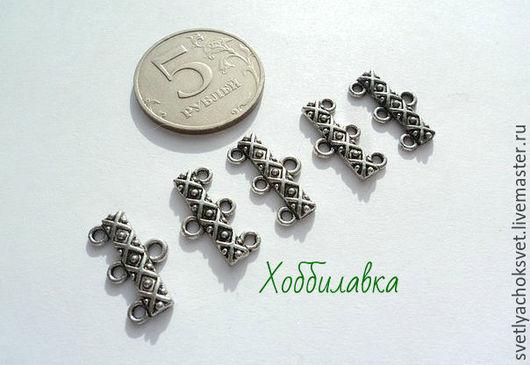 Коннекторы на 3 нити для создания браслетов,бус,колье. цвет Античное серебро  Высота 18 мм ширина 8 мм толщина 2 мм цена 6 руб.шт. доступно 20 шт.