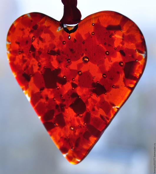 """Персональные подарки ручной работы. Ярмарка Мастеров - ручная работа. Купить подвеска декоративная """"Мое сердце"""". Handmade. Стекло, стекло"""
