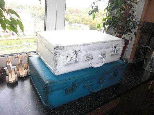 """Корзины, коробы ручной работы. Ярмарка Мастеров - ручная работа. Купить Комплект чемоданов """"Средиземноморье"""". Handmade. Тёмно-синий, полоска"""