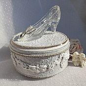 handmade. Livemaster - original item Jewelry box with a crystal slipper (Wedding Commotion). Handmade.