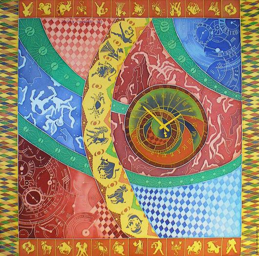 Платок батик на заказ `Астрономические часы`