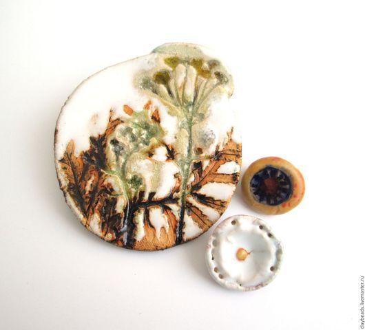 Броши ручной работы. Ярмарка Мастеров - ручная работа. Купить Hortus Botanicus: Пижма обыкновенная. Керамическая брошь. Handmade.