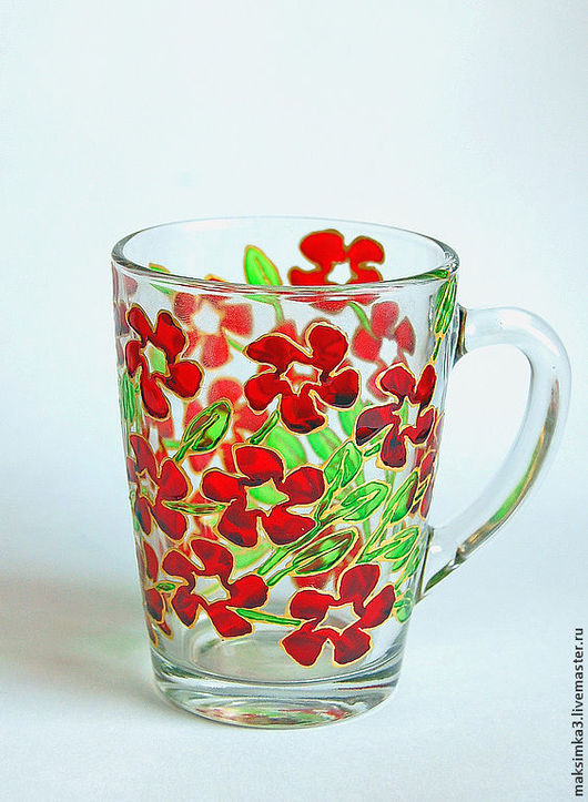 """Бокалы, стаканы ручной работы. Ярмарка Мастеров - ручная работа. Купить Бокал  """"Красные цветы"""" + сережки в подарок!. Handmade."""