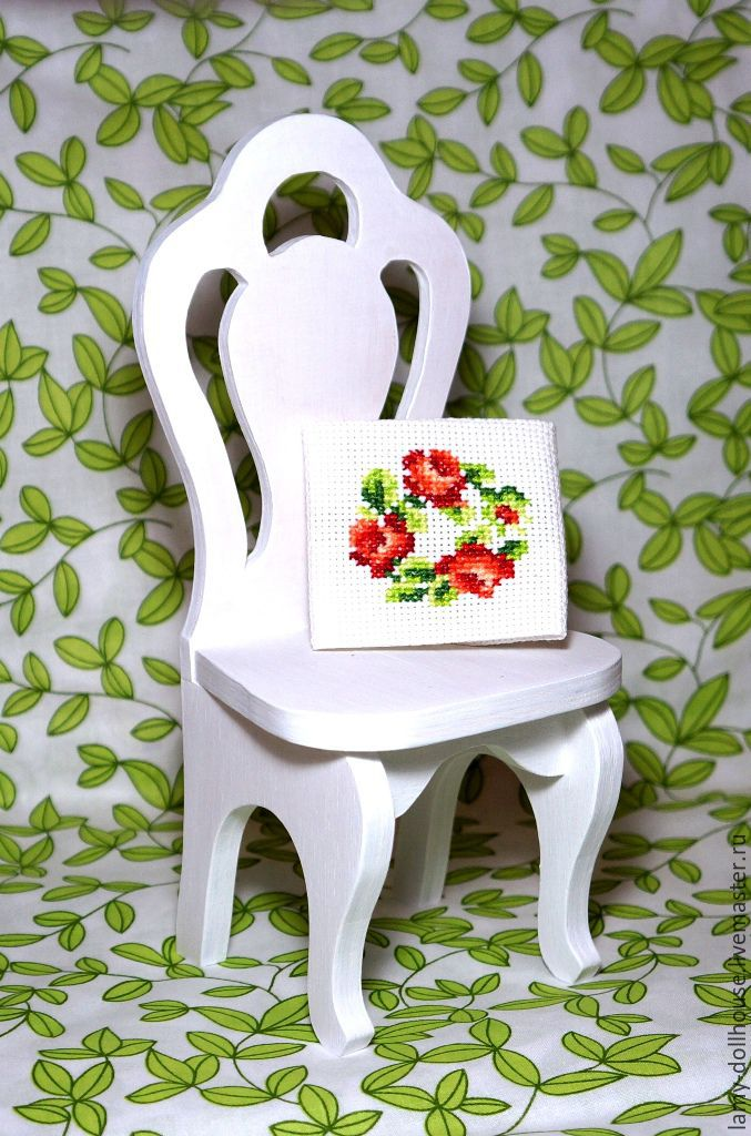 Chair for dolls painted white, Doll furniture, Moscow,  Фото №1