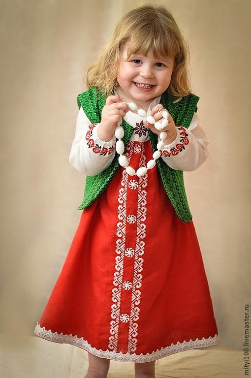 """Детское платье """"Ладушка"""" с жилеткой"""