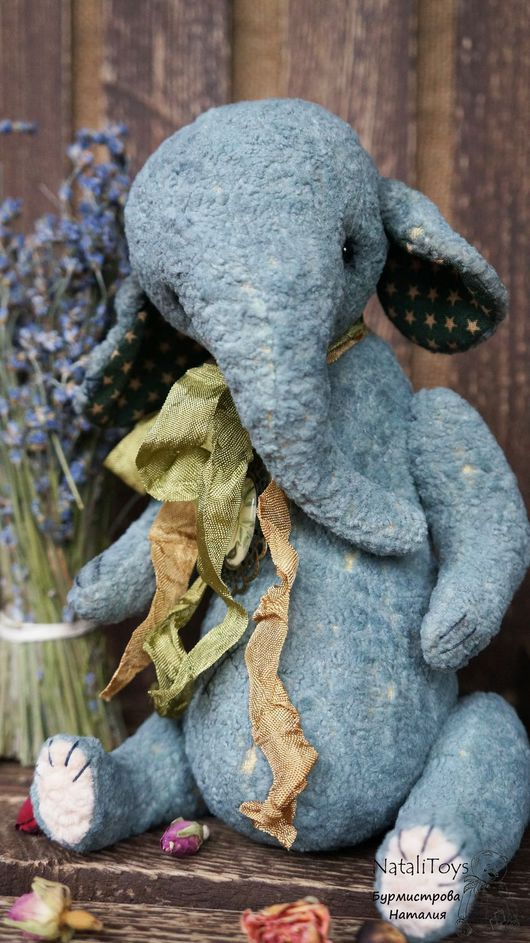 Мишки Тедди ручной работы. Ярмарка Мастеров - ручная работа. Купить Слоник тедди Бон (Ароматный). Handmade. Морская волна