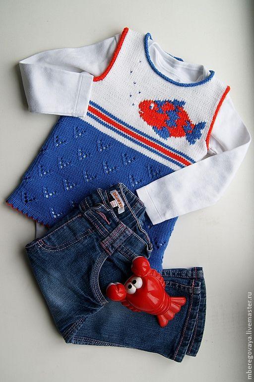 """Одежда для девочек, ручной работы. Ярмарка Мастеров - ручная работа. Купить Жилет """"В синем море, в белой пене..."""". Handmade."""