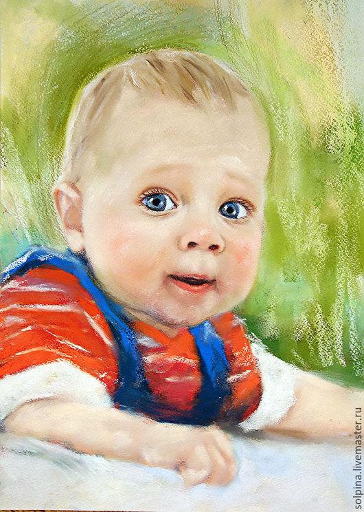 Персональные подарки ручной работы. Ярмарка Мастеров - ручная работа. Купить Портрет малыша пастелью. Handmade. Салатовый, портрет по фото