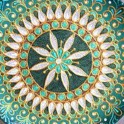 """Посуда ручной работы. Ярмарка Мастеров - ручная работа Декоративная тарелка """"Малахитовый цветок"""". Handmade."""