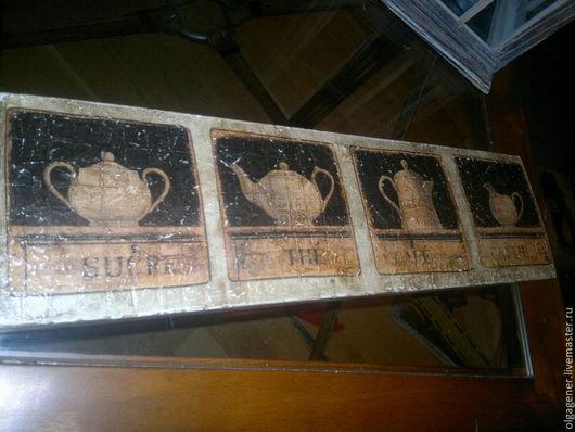 Натюрморт ручной работы. Ярмарка Мастеров - ручная работа. Купить Панно деревянное настенное Кофейный квартет. Handmade. Коричневый