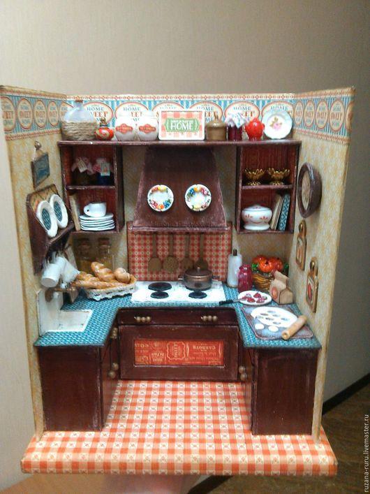 """Кукольный дом ручной работы. Ярмарка Мастеров - ручная работа. Купить Румбокс """"Кухня"""". Handmade. Коричневый, кукольная миниатюра"""