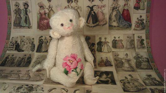 Мишки Тедди ручной работы. Ярмарка Мастеров - ручная работа. Купить обезьянка тедди White Rose. Handmade. Белый, шёлк