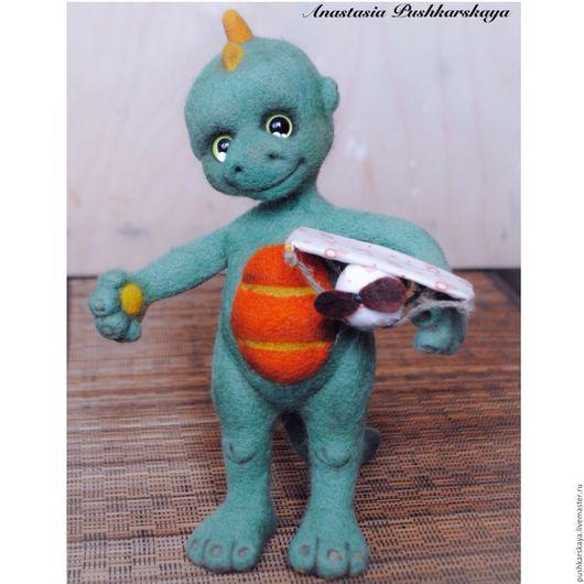 Дракончик Крокозяблик, валяшка, коллекционная игрушка, авторская игрушка, игрушка из шерсти.