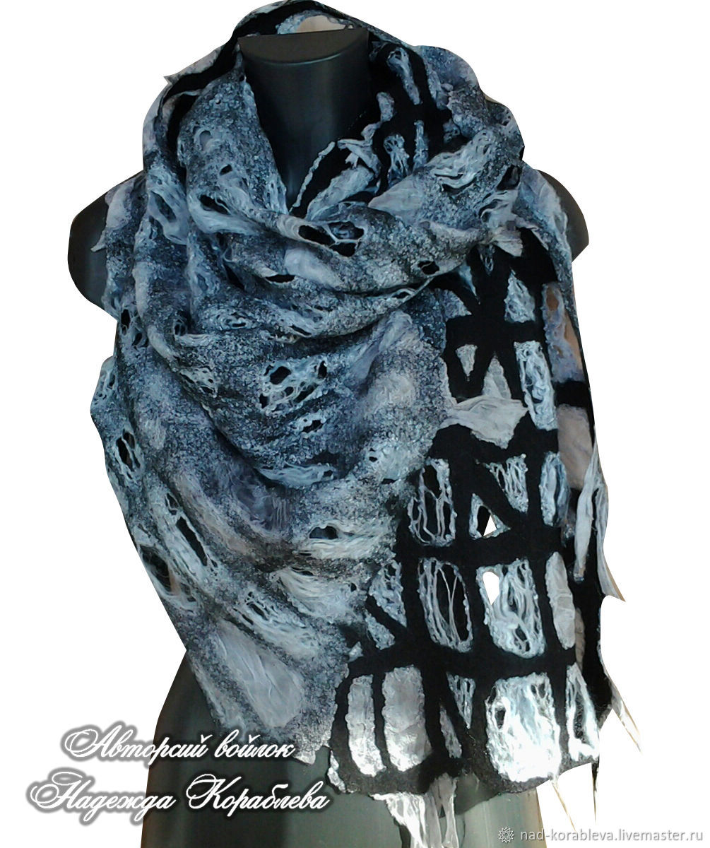 Scarf-mesh felted ' in Gothic style...', Scarves, Moscow,  Фото №1
