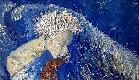 """Символизм ручной работы. Ярмарка Мастеров - ручная работа. Купить """"Молитва или ангел в синих тонах.... """". Handmade. Синий"""