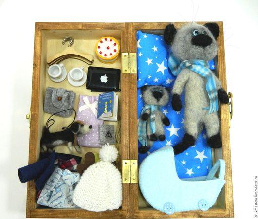 """Игрушки животные, ручной работы. Ярмарка Мастеров - ручная работа. Купить Детский набор"""" Папа кот и котенок сынок"""". Handmade."""