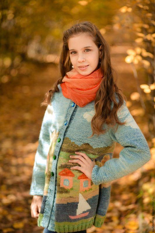"""Одежда для девочек, ручной работы. Ярмарка Мастеров - ручная работа. Купить Кардиган с пейзажем """"Парусная регата"""". Handmade. Комбинированный"""