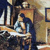Картины и панно ручной работы. Ярмарка Мастеров - ручная работа Географ, вышивка крестом по картине Вермеера, вышитая картина в раме. Handmade.