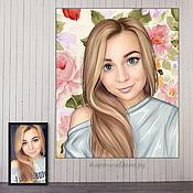 Картины и панно handmade. Livemaster - original item Portrait photo for 2 days.Original gift for a woman`s birthday. Handmade.