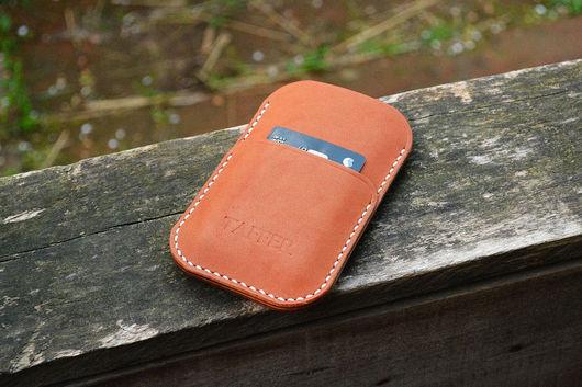 Для телефонов ручной работы. Ярмарка Мастеров - ручная работа. Купить Чехол для смартфона из натуральной кожи с отделением для карт карман. Handmade.