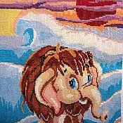 """Картины и панно ручной работы. Ярмарка Мастеров - ручная работа вышивка крестиком""""Мамонтенок на льдине"""". Handmade."""