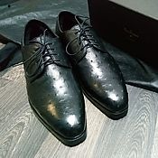 Обувь ручной работы handmade. Livemaster - original item Men`s Derby, ostrich leather, fur, black, handmade!. Handmade.