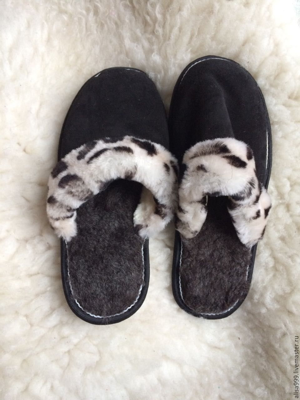 Men's suede Slippers.Sheepskin, Slippers, Moscow,  Фото №1