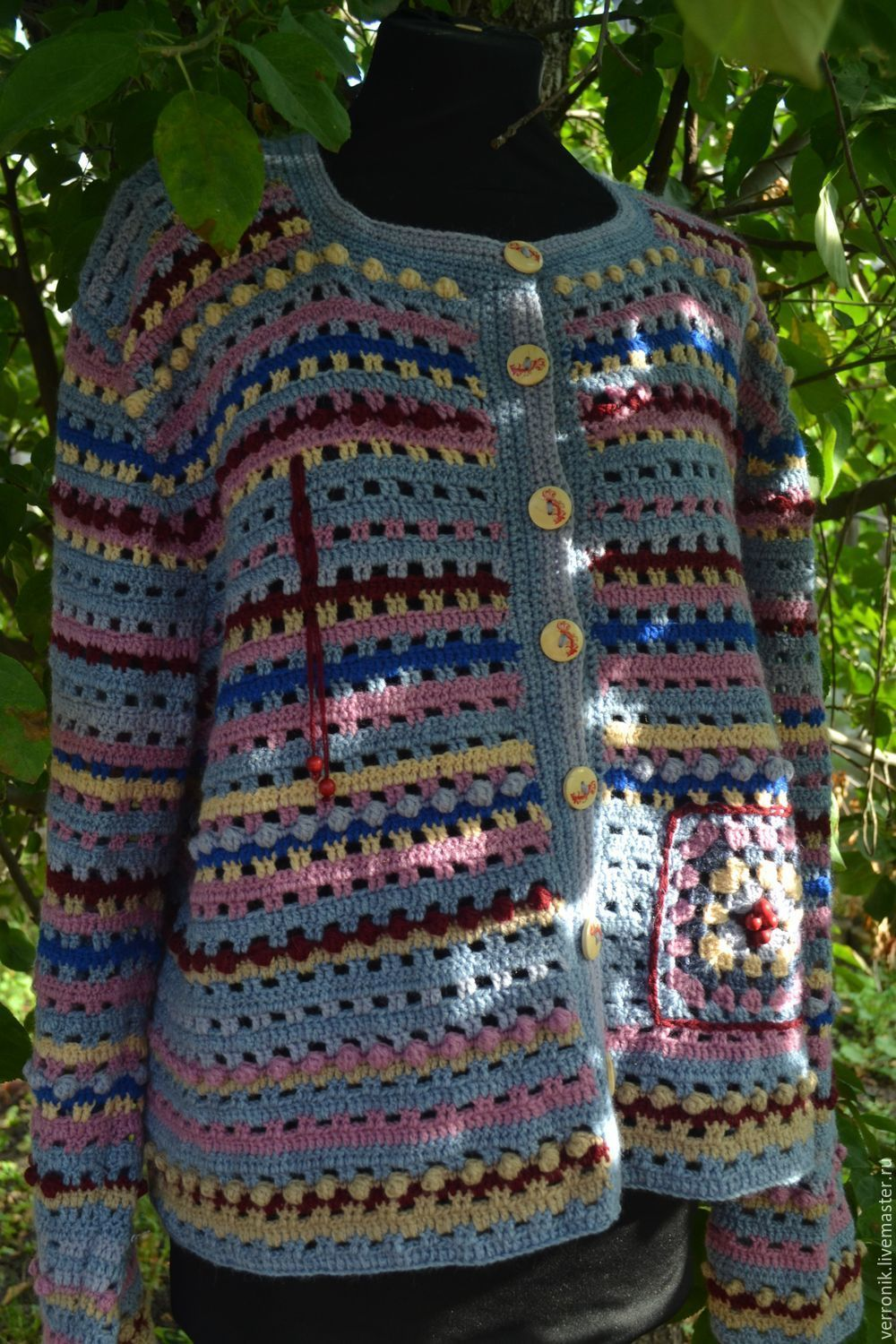 Clothing. Sweatshirts and sweaters. cardigans. Fair masters - handmade. Knitted cardigan. Cardigan knitted `Rowan`.Bomber. Blue, Burgundy.Handmade. Shop masters of Dominica.
