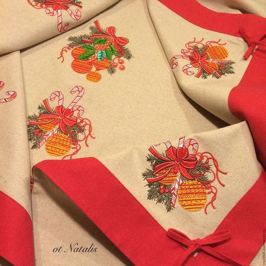 """Текстиль, ковры ручной работы. Ярмарка Мастеров - ручная работа. Купить Скатерть из льна """"Новогодние шары-2"""". Handmade. Скатерть"""